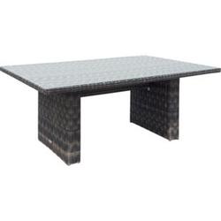 Polyrattan Gartentisch 200x100 Glastisch Esstisch Gartenmöbel Tisch Metall