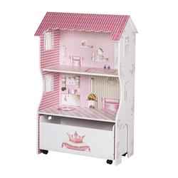 Roba Puppenhaus & Spielregal Spielmöbel & Puppenvilla Für Ankleidepuppen Inkl. Aufbewahrungsbox F. Spielzeug Rosa