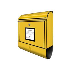 banjado Briefkasten Stahl Briefkasten Gelb, 39x47x14cm schwarz 39 cm x 14 cm x 47 cm
