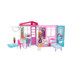 Mattel® Puppenhaus Barbie® Ferienhaus mit Möbeln und Puppe (blond),