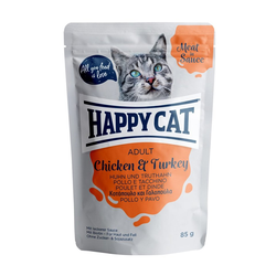 HAPPY CAT Meat in Sauce Adult Chicken & Turkey (Huhn & Truthahn) 85 g