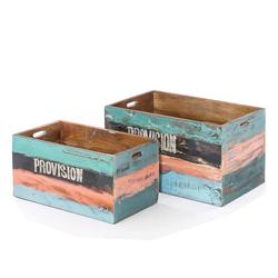 Bunte Kisten aus Mangobaum Massivholz Shabby Chic Style (2-teilig)