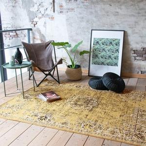 FRAAI Teppich Vintage - Wonder Gelb Schwarz - 160x220cm - Kurzflor - Antik, Vintage - Klassik, Orientalisch - Wohnzimmer, Esszimmer, Schlafzimmer