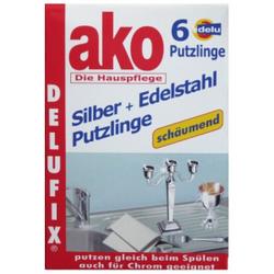 ako® Delufix® Silber + Edelstahl Putzlinge, putzen gleich beim spülen, 1 Packung = 6 Putzlinge