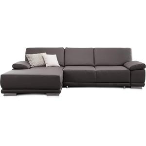 CAVADORE Eckcouch Corianne in Kunstleder / Sofa in L-Form mit verstellbaren Armlehnen und Longchair / 282 x 80 x 162 / Lederimitat, grau