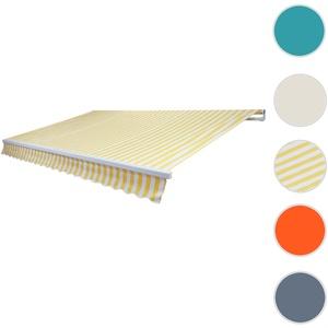 Alu-Markise T792, Gelenkarmmarkise Sonnenschutz 5x3m ~ Polyester Gelb/Weiß