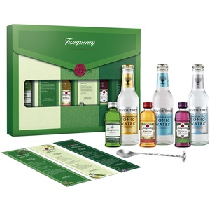 Tanqueray Collection Kit: 3x Tanqueray 5cl / 3x 20cl Fever Tree tonics / 3x Recipe cards / 1x Stirring spoon