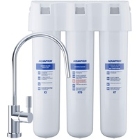 AQUAPHOR Wasserfilter-System Crystal ECO mit Filter K3, K7B, K7. Mikrofiltration von Trinkwasser zur zuverlässigen Entfernung von Bakterien und Mikroorganismen, Weiß, 1