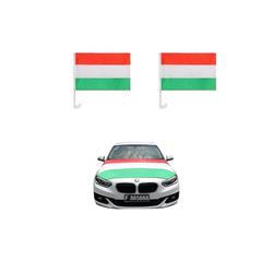 Sonia Originelli Fahne Auto Fan-Paket Haubenfahne Fensterfahnen Spiegelfahnen Magnetflaggen Ungarn Hungary, Fanartikel für das Auto in Ungarn-Farben Fanset-10