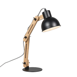 Industrielle Tischlampe schwarz mit Holz - Woodi