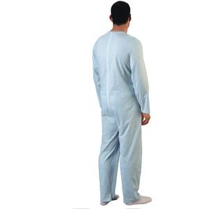Rekordsan Schlafanzug für Herren, klassisch, Baumwolle, mit 1 Reißverschluss, Blau, Größe 5 – 1 Stück