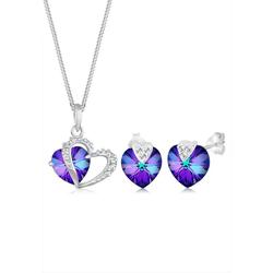 Elli Schmuckset Herz Kristalle 925 Silber