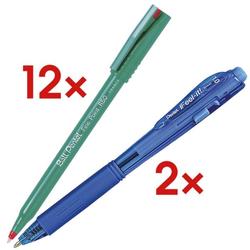 12er-Set Einweg-Tintenroller Ball »Fine Point R50« inkl. 2 Kugelschreiber »BX-44 rot, Pentel