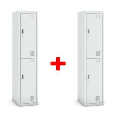 Zweitüriger schrank, 1800 x 380 x 450 mm, grau/grau, 1+1 gratis