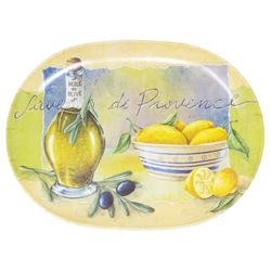 Lashuma Tablett Provence, Melamin, Geschirrtablett italienisch, Ovales Serviertablett gelb 21 cm x 30 cm x 1.5 cm