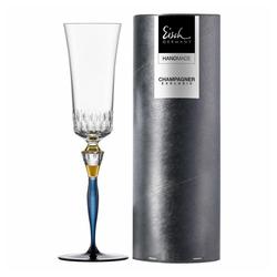 Eisch Champagnerglas Blau Champagner Exklusiv, Kristallglas blau