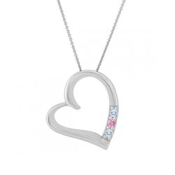 Goldene Halskette mit Herz, Aquamarin und rosa Saphir Acamar