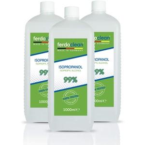 ferdoclean Isopropanol 99% 3000ml   Lösungsmittel 3 x 1L IPA Alkohol Reiniger für Haushalt, Küche, Auto & mehr   Fettentferner Reinigungsmittel