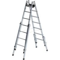 Günzburger Aluminium-Stehleiter treppengängig 2 x 7 Sprossen (33514)