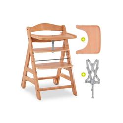 Hauck Hochstuhl Alpha Plus Move - Natur Mitwachsender Holz Treppenhochstuhl mit Essbrett, Gurt und Rollen