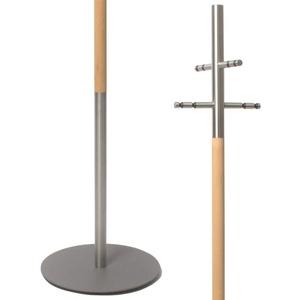 HISKA Garderobenständer Ahorn Edelstahl, Kleiderständer, Garderobe freistehend, Echtholz, Objekteinrichtung