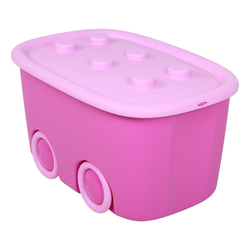 ONDIS24 Aufbewahrungsbox Spielzeugaufbewahrungsbox Spielzeugkiste Aufbewahrungsbox Kinder Spielzeugbox Funny mit großen Rädern und aufliegendem Deckel, rot blau, 46 liter lila