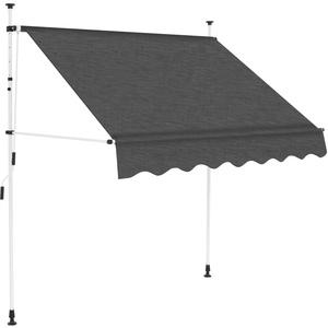 yorten Einziehbare Markise Handbetrieben Klemmmarkise Sonnenschutz Terrasse Markise Stahlrahmen 200 cm Anthrazit