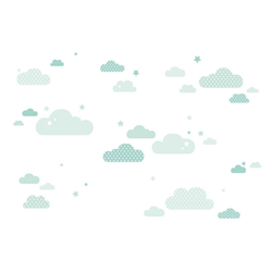 lovely label Wandsticker Wolken mint/grün