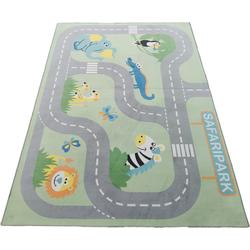 Lüttenhütt Kinderteppich Safari, rechteckig, 6 mm Höhe, Straßen-Spielteppich grün Kinder Kinderteppiche mit Motiv Teppiche