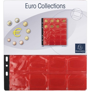 Exacompta 96002E 3er Pack Münzenhüllen für jeweils 20 Münzen in 40 mm, inklusive 3 rote Register, passend zum Münzalbum Numismatik