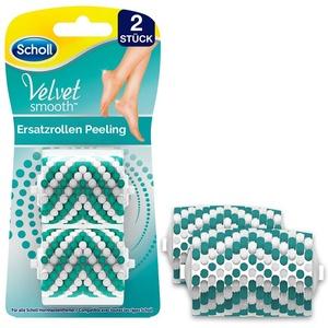 Scholl Velvet Smooth Peelingrolle - Nachfüller für die elektrischen Hornhautentferner von Scholl - Ersatzrolle für trockene und schuppige Haut an den Beinen und Füßen, 2 Stück