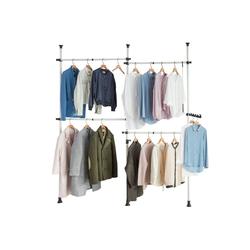 SoBuy Kleiderständer KLS03, Garderobenständer mit 4 Kleiderstangen Verstellbares Regalsystem weiß