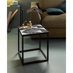 INOSIGN Beistelltisch Steph, mit Metallgestell, Mosaik Tischplatte mit Zementfliesen in schwarz, weißem Geo-Design