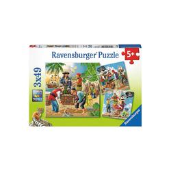 Ravensburger Puzzle Abenteuer auf hoher See 3 X 49 Teile Puzzle, Puzzleteile