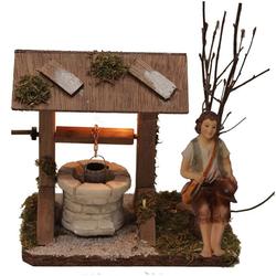Alfred Kolbe Krippen-Zubehör Brunnen mit Beleuchtung und Figur Hirte sitzend (Set, 2 Stück)