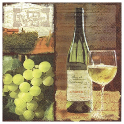 Linoows Papierserviette 20 Servietten, Weißwein Flasche und Glas, Gastro, Motiv Weißwein Flasche und Glas, Gastro Servietten