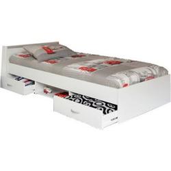 Funktionsbett Alawis inkl Matratze + 2 Bettkästen + 1 offenes Fach/Regal 90*200 cm weiß