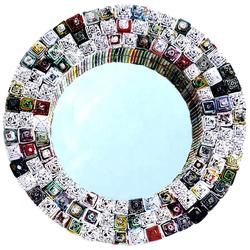 Guru-Shop Dekospiegel Spiegel aus Recyclingpapier - rund 35 cm