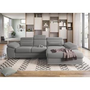 sit&more Ecksofa, mit Sitztiefen- und Armteilverstellung sowie Federkern, wahlweise mit Bettfunktion und Bettkasten, jeweils inkl. 2 Nierenkissen grau