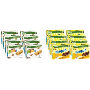 Nestlé Cini Minis Riegel, Cerealien mit Zimt-Geschmack, 8er Pack (à 4 x 25g) & Nesquik Riegel, Cerealien mit Vollkorn-Weizen & Kakao, Müsli-Riegel To Go, mit Calcium, 8er Pack (à 4 x 25g)