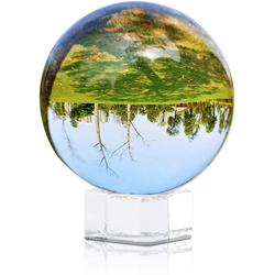 Intirilife Dekokugel, Glas Foto Kugel mit Ständer in KRISTALL KLAR 70 mm - Kristallkugel mit Glasständer beige 7 cm x 7 cm
