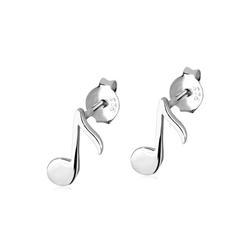 Elli Paar Ohrstecker Note Musiker Musik Musiknote Emaille Silber, Note silberfarben