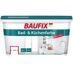 Baufix Wand- und Deckenfarbe Bad und Küchenfarbe, 5 Liter, weiß