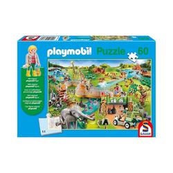 Schmidt Spiele Puzzle Puzzle PLAYMOBIL® inkl. Playmobil-Figur, Zoo, 60, Puzzleteile