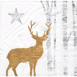 """Papierservietten """"Goldener Hirsch"""", 33 x 33 cm, 20 Stück"""