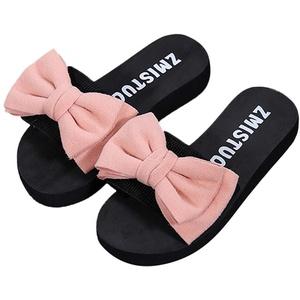 Damen Slider Flache Hausschuhe mit Schleife, Sommer Plateau Strandpantolette Bequeme Sandalen für Urlaub Strand Celucke (Pink, EU38)