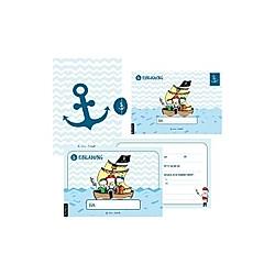 12 Einladungskarten Geburtstag Junge (Piraten)