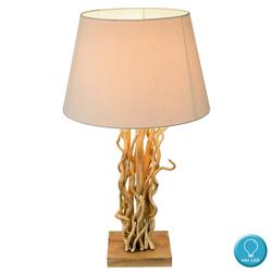 Tisch Lampe Lese Raum Beistell Natur Holz Leuchte Textil Schirm beige im Set inkl. LED Leuchtmittel