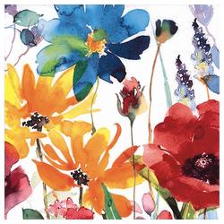 Linoows Papierserviette 20 Servietten Sommer, Klatschmohn und farbige, Motiv Sommer, Klatschmohn und farbige Blumen