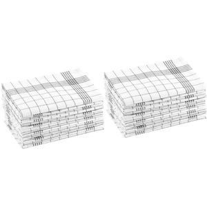 Rosenstein & Söhne Kochfestes Geschirrtuch: Baumwoll-Geschirrtücher, 24er-Set, je 50 x 70 cm, grau-kariert (Hygienisches Geschirrtücher)